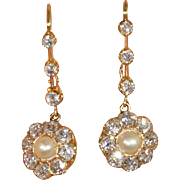 Stunning Antique Edwardian Diamond and Pearl Earrings - Clearance Sale!!