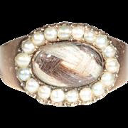 Antique 18k Georgian Pearl and Hair Memorial Ring Dated 1801