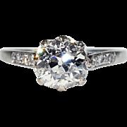 Antique Edwardian 1.75 carat Diamond Solitaire Ring in Platinum, *Video*