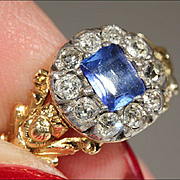 Early Victorian Sapphire and Diamond Cluster Ring, Foil Backed 18k Gold and Silver c. 1830 ...
