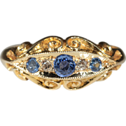 Vintage 18k Edwardian Sapphire and Diamond Ring Hallmarked Birmingham 1916