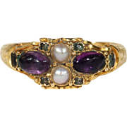 Antique Victorian Amethyst, Emerald and Pearl Ring in 18k Gold, Hallmarked 1860