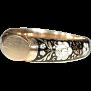 Antique 18k Enameled Glove/Signet Ring, European c.1820