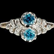 SALE Antique 18k & Platinum Edwardian Natural Blue Zircon and Diamond Ring c.1910