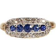Antique Victorian Sapphire and Diamond Ring in 18k and Silver, Hallmarked London 1878