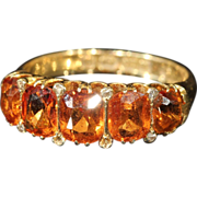 Gorgeous Victorian Spessartite Garnet 5 Stone Ring, 18k Gold, *Video*