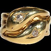 Antique Edwardian Diamond Double Snake Ring, Size 9