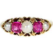 Antique Victorian Pearl and Ruby Ring in 18k Gold