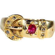 Antique Ruby and Diamond Buckle Ring in 18k Gold, Hallmarked Chester 1903