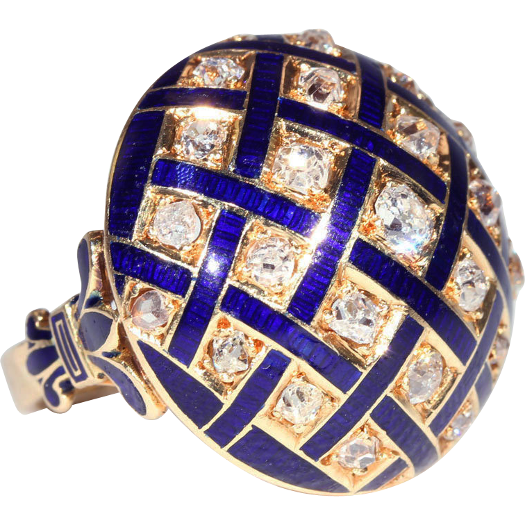 Fabulous French Diamond Dome Ring with Blue Enamel, 1.5ctw 18k Gold