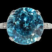 SALE Fantastic Vintage 11+ Carat Zircon and Diamond Ring