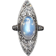 SALE Vintage Art Deco Moonstone and Diamond Ring, c. 1915 18k Gold