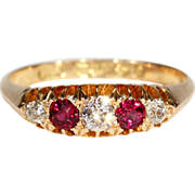Antique Victorian Ruby and Diamond 5 Stone Ring in 18k Gold