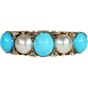 Antique Victorian Turquoise and Pearl Ring with Rose Cut Diamonds
