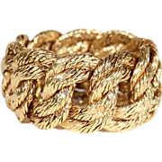 Vintage Knotted Rope Band Ring, 18k Gold, Hallmarked 1971