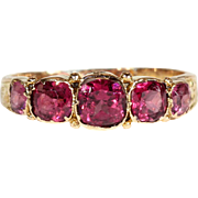 Antique 5 Stone Almondine Garnet Ring in 15k Gold