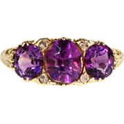 Antique Victorian Deep Purple Amethyst and Diamond Ring in 18k Gold
