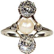 Antique French Diamond and Pearl Ring, 2.5+ctw