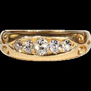 Antique Victorian 5 Stone Diamond Ring in 18k Gold, Hallmarked 1892
