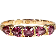 SALE Fantastic Victorian Garnet Ring with Heart Shaped Stones, 15k Gold, Hallmarked 1865