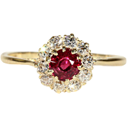 Antique Edwardian Garnet and Diamond Cluster Halo Ring in 18k Gold