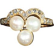 Antique Pearl and Rose Cut Diamond Trefoil Ring in 18k Gold