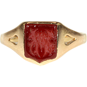 Antique Carnelian Signet Ring in 18k Gold, Victorian c. 1890