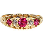 Antique 5 Stone Ruby and Diamond Ring in 18k Gold, Edwardian