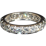 Vintage Diamond Eternity Band Ring, Size 4.75 French Platinum c.1950, *VIDEO*