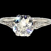 SALE Antique Edwardian 1.4ct Diamond Solitaire Ring in Platinum, European c. 1915, *Video*