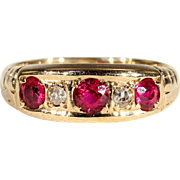 Antique 5 Stone Ruby and Diamond Ring, Hallmarked 1915