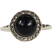Vintage Round Art Deco Onyx and Silver Halo Ring in Silver