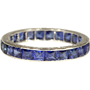 Vintage Art Deco Sapphire Eternity Band Ring, Size 7.25, 3+ctw in Platinum