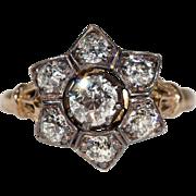 Antique Diamond Star Cluster Engagement Ring, 9k & Silver, Hallmarked 1903