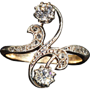 Art Nouveau Diamond Toi et Moi Ring in 18k and Platinum