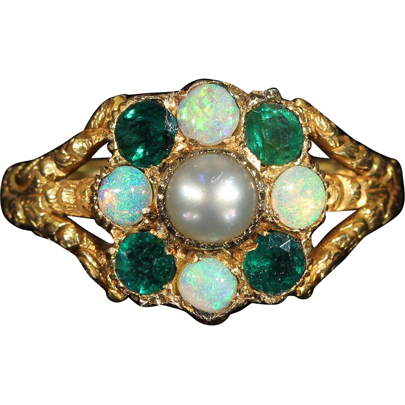 antique georgian memorial ring dated 1824 set with opal