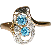 Fantastic Antique Art Nouveau Rose Gold and Platinum Diamond and Natural Blue Zircon Ring c ..