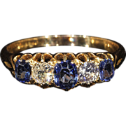 Antique Victorian 5 Stone Sapphire & Diamond Engagement Ring