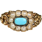 Rare Georgian 18k Turquoise and Natural Pearl Cluster Ring Hallmarked London, 1833