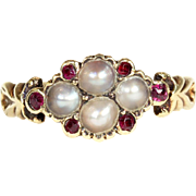 Antique Georgian Pearl and Ruby Ring in 15k Gold, c. 1820