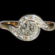 Antique European 18k and Platinum Rose Cut Diamond Tourbillion Ring c.1900
