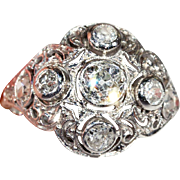 Antique Edwardian Diamond Dome Ring in Platinum, c. 1910