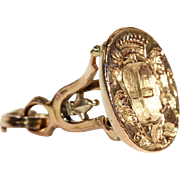 SALE Antique French Neoclassical Gold Fob Seal, 18k Gold c. 1820
