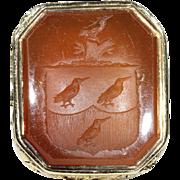 Antique Georgian Armorial Seal, Carnelian and 18k Gold c. 1820