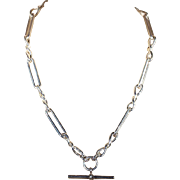 Antique Silver Watch Chain Necklace, English c. 1900
