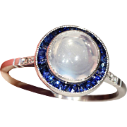 Vintage Art Deco Moonstone, Sapphire and Diamond Target Ring in Platinum, Halo, Engagement