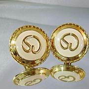 Vintage St John Earrings Gold and Cream