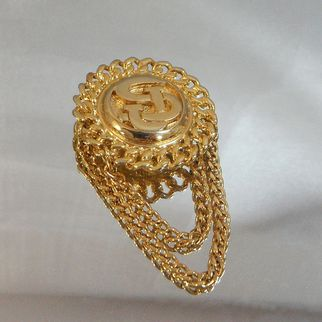Vintage St John Brooch. 22k Gold Plated. Chains.