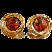 Vintage St John Earrings 22k Gold Plated and Faux Amber Lucite Tortoiseshell