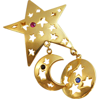 Vintage Star Brooch. Gold Tone Five-Point Star Dangling Sun Moon Pin with Rhinestones. Celestial Shooting Star. Holiday. Christmas